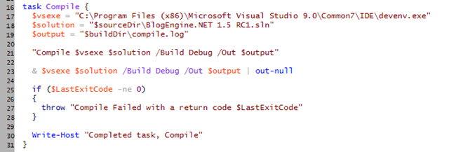 Using PowerShell in the build process